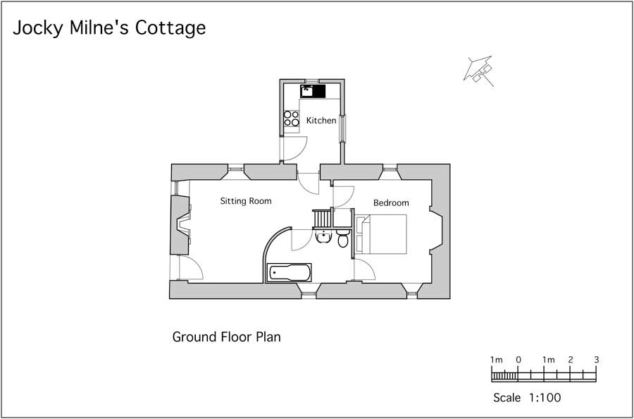 romantic highland holiday cottage for two floorplan