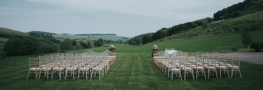 Ready for a wedding ceremony in front of the barn