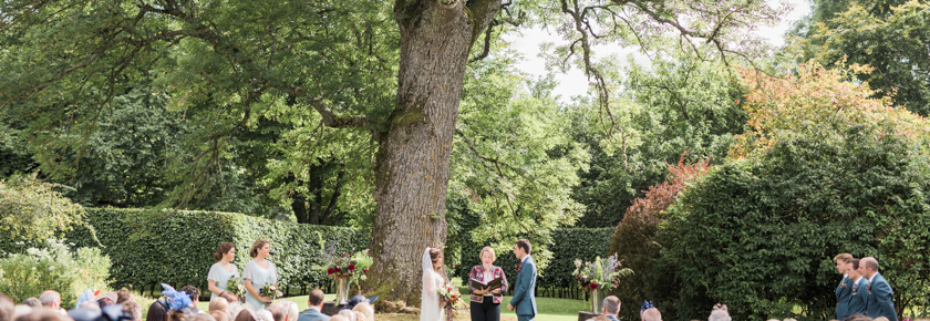 A wedding ceremony in the garden at Aswanley