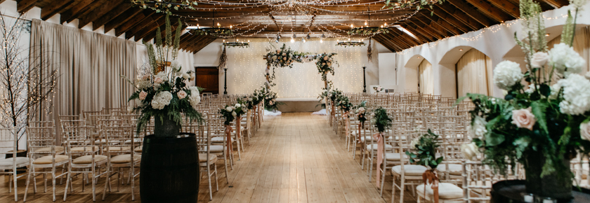 Ballroom wedding ceremony at Aswanley by Emma Lawson Photography