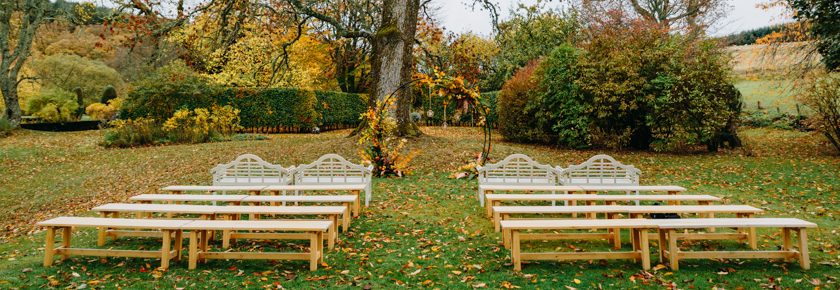 Autumn Garden wedding ceremony by Fireflies & Embers